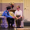 Officer Tom (AKA Tyler Hughes) sitting on the couch with Bridget Charles (AKA Erin Millette) at the Winnacunnet High School Drama Presents Nana's Naughty Knickers by Katherine Disavino on Friday 11-9-2018 at the WHS Auditorium, Hampton, NH.  Matt Parker Photos