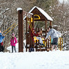 A group of kids at the playground having fun in the snow at the Town of North Hampton Annual Winterfest Event on Saturday 3-10-2018 @ N. Hampton, Town Offices, NH.  Matt Parker Photos