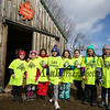 "4th graders the, ""LAS SAP SQUAD"" pose for a photo in front of the Sugar Shack at the Lincoln Akerman School 4th grade annual Sugaring Off Maple Syrup Party on Saturday 3-17-2018 @ the, ""LAS Sugar Shack"", Hampton Falls, NH.  Matt Parker Phtotos"