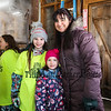 "Allie King with 4th grader Celina and kindergartener Xenia at the Lincoln Akerman School 4th grade annual Sugaring Off Maple Syrup Party on Saturday 3-17-2018 @ the, ""LAS Sugar Shack"", Hampton Falls, NH.  Matt Parker Phtotos"