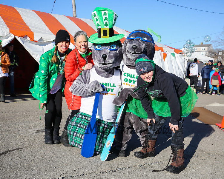 (L to R) Emily Connors, Co-Chair Leslie Ware, with Salty and Sabastian (AKA Liam Connors) and Chris Connors at the 2018 Salty's St. Paddy's Day Plunge to benefit the Chris Connors Fund at York Harbor Beach on Saturday March 17th, 2018.  Matt Parker Photos