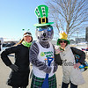 """Salty"" poses with (L) Marti Timmons and Julie O'Adams at the 2018 Salty's St. Paddy's Day Plunge to benefit the Chris Connors Fund at York Harbor Beach on Saturday March 17th, 2018.  Matt Parker Photos"