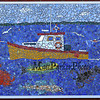 """In the mosaic mural of """"Ocean Fishing"""" a fishing boat is motoring on deep blue water with a red crab, black lobster, a green fish, a white/blue fish and seagulls on one of the student-made mosaic murals depicting Seabrook's history in celebration of Seabrook's 250th anniversary on Friday 4-20-2018 @ SES, Seabrook, NH.  Matt Parker Photos"""