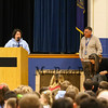 "Seabrook Elementary School Principal Stephanie Lafreniere speaks to the students, teachers and guests as Assistant Principal Mark Dangora looks on at the, ""grand unveiling"" of the student-made mosaic murals depicting Seabrook's history in celebration of Seabrook's 250th anniversary on Friday 4-20-2018 @ SES, Seabrook, NH.  Matt Parker Photos"