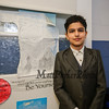 John Adams AKA Saif Yakoob stands in front of his work where he researched American Statesman and our 2nd President of the United States John Adams at the Grade 4 Revolutionary War Wax Museum on Friday 5-11-2018 @ Seabrook Elementary School, Seabrook, NH.  Matt Parker Photos