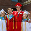 (L to R) Claudia Davis-Meggs, Ben Stevens, Gage Baker and Kathleen Perry pose for a photo prior to the march for the 115th, Wells High School Class of 2018 Graduation Ceremony on June 10, 2018, 1:00 PM, Wells, ME.  [Matt Parker/Seacoastonline]