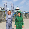 3rd graders Khayden Rodriguez-Correa and Anthony Saucier pose for a photo in their costumes as they get ready for the Hampton Beach Children's Festival Costume Parade on Friday 8-17-2018, Ocean Blvd., Hampton Beach, NH.  [Matt Parker/Seacoastonline]