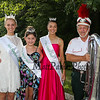 """Miss Hampton Beach queens (L to R) Miss HB Kirstin Pesaresi, Little Miss HB Gabriella Rheaume and JR Miss HB Samantha Lemay pose with Michael Schroth a Contra Bass performer with the """"Sons of Italy Drums & Bugle Corps"""" of Haverhill MA at the Seabrook 250th Anniversary Parade on Saturday, 8-4-2018, Seabrook NH.  [Matt Parker/Seacoastonline]"""