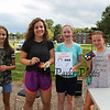 "The ""Face Paint"" crew (L to R) 7th grader Madeline Phoenix, Meredith Maloney, 8th grader Emily Currie and 6th grader Clare McCann pose for a photo at the Lane Library Summer Reading Finale celebration on Thursday 8-9-2018 @ Centre School, Hampton NH.  Matt Parker Photos"