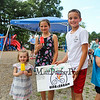 "7th Grader Ty Dumont poses with his ""Bice-Cream"" stand after serving 3 year old Sadie Ajemian and his 5th grade sister Lauren popsicles at the Lane Library Summer Reading Finale celebration on Thursday 8-9-2018 @ Centre School, Hampton NH.  Matt Parker Photos"