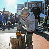 "4 year old Oliver Horner of Eliot ME squashes a ripe pumpkin with the ""skull"" hammer at the Annual Pumpkin Smash held in conjunction with the Portsmouth Farmers' Market with all proceeds going to the Portsmouth Halloween Parade at Portsmouth City Hall on Saturday Oct. 2019.  Matt Parker Photos"