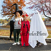 """Jenni Stuart with 5th graders """"devil"""" Abby Tremblay and """"ghost"""" Ada Cooper at Exeter's annual Halloween Parade on Saturday 10-26-2019 @ Swasey Parkway, Exeter NH.  Matt Parker Photos"""