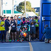 """Team Hoyt"" crosses the start line getting a 1 minute head start at the 12th Annual Smuttynose Rockfest Half Marathon & 5k road race on Sunday 10-6-2019 Hampton Beach NH.  Matt Parker Photos"