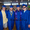 (L to R) Brennan Kittredge, Shawn Sears, Jesse James and Tom Birch getting ready for the entrance march at the Winnacunnet High School Class of 2019 Graduation Ceremony on June 7, 2019, 6:00 PM @ WHS, Hampton, NH.  [Matt Parker/Seacoastonline]