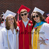 (L to R) Lauren Dow, John Keniston and Delaney Bailey at the Wells High School Class of 2019 Graduation Ceremony on June 9, 2019, 1:00 PM, Warrior Field, Wells, ME.  [Matt Parker/Seacoastonline]