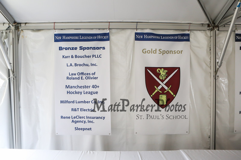 Bronze Sponsors list and Gold Sponsor St. Paul's School, NH Legends of Hockey 14th Annual Golf Classic held at Stonebridge Country Club on Friday July 12, 2018, Goffstown, NH.  Matt Parker Photos