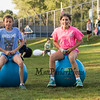 Lola Grote and Annika Schick on the hippity hops at the Lane Library Summer Reading Finale Party and Ice Cream Social on Thursday 8-8-2019 @ Tuck Field, Hampton NH.  Matt Parker Photos