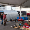 Employees of Ray's Seafood from Rye NH, unload corrugated steel panels for their booth at the 30th Annual Hampton Beach Seafood Festival, setting up the food booths on Thursday 9-5-2019 @ Hampton Beach, NH.  Matt Parker Photos