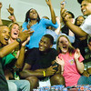 Alabama linebacker Rolando McClain is picked in the first round of the NFL draft by the Oakland Raiders Thursday, April 22, 2010. Friends and relatives gathered around McClain, seated center, celebrate when the announcement is made on TV.  They were watching the draft in Decatur, Ala., McClain's hometown.