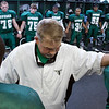 Speake High School football coach Royal Carpenter, center, prays with his team before the class 1A semifinal playoff game against Gaston in Speake Friday, November 28, 2008. Speake won the game 36-14.