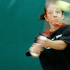 MU senior Amanda Pratzel backhands the ball during practice at the Green Tennis Center in Columbia, MO.