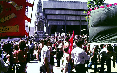 Waiting for Arthur Scargill. Miners strike in Birmingham, England
