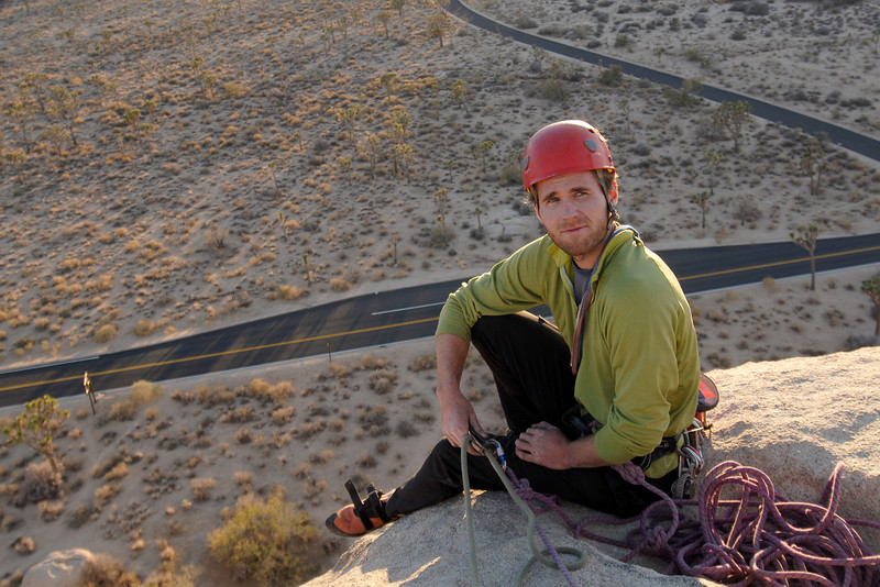 Earthworks guide Andy Patterson rests after a successful ascent of Intersection Rock, in Joshua Tree National Park.