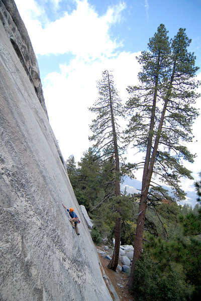 "Nate Conroy enjoys classic Sierra slab climbing on ""Red Mushrooms"" (5.10c)."