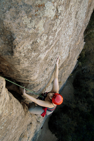 "Erica Brusselars nears the top of ""the Crack"" at Foothill Ridge, in Ojai."