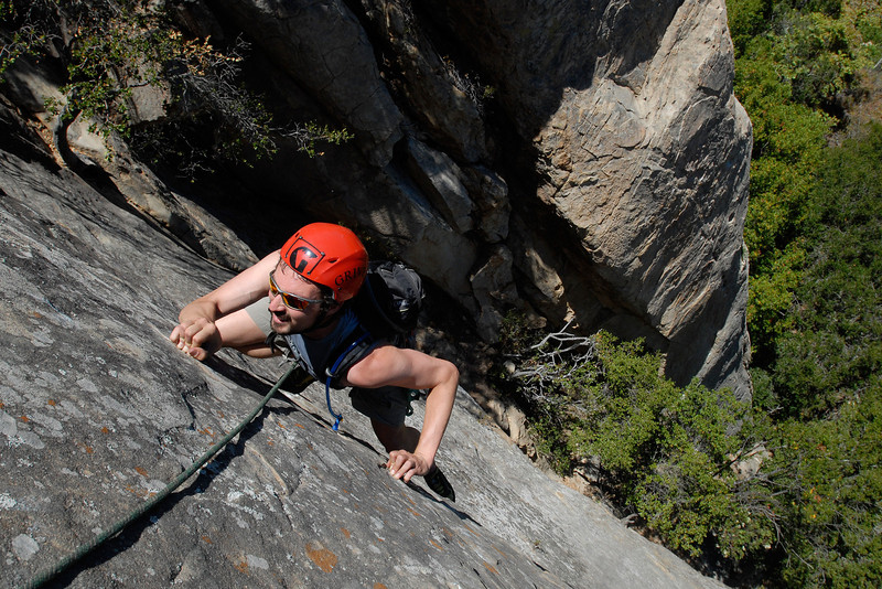"Zach Grossman climbs the 5.10b second pitch of ""Face Lift,"" at San Ysidro"