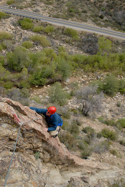 "Michael McKay during one of the first few ascents of ""Free to Choose"" at the Fortress."
