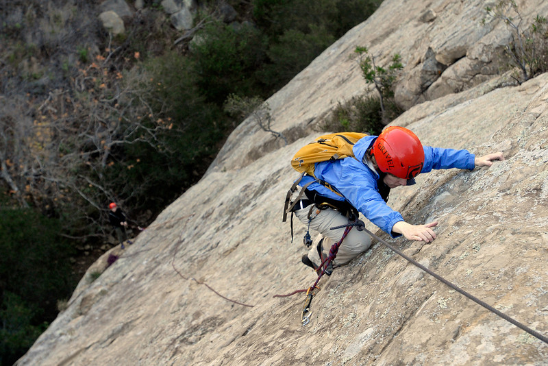 "Carolyn Libuser climbs ""Tigger Treat,"" at San Ysidro"