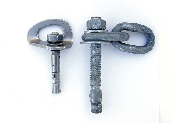 """Just to give you a sense how huge the failed 1/2"""" bolt is, here it is alongside a standard 3/8"""" wedge bolt."""