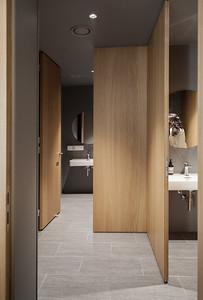 20 Innenraumgestaltung der Schweizer Filiale der Chinesischen Grossbank ICBC, Zürich - Toiletten. EXH Design 2018