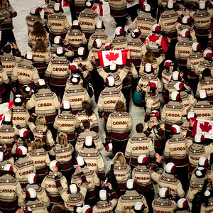 Canadian athletes during the  Closing Ceremony