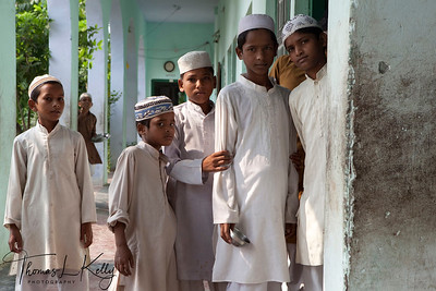 MADRASSA  Muslim students enter their Madrasa to study the Koran.   Nepalgunj, Nepal.