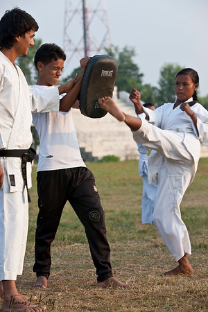 MARTIAL ARTS  Interest in Martial arts based games is increasing, especially among Nepalese girls. In the years of 2004, newspapers generously ran stories on Nepali martial art player Sangina Vaidya,  first Nepalese to formally qualify for the Olympics. She became the role model for many Nepalese girls. One can see young ladies and boys geared in their white uniform making rounds of the stadium early morning and happily doing so.  Dhangadi Stadium, Nepal.