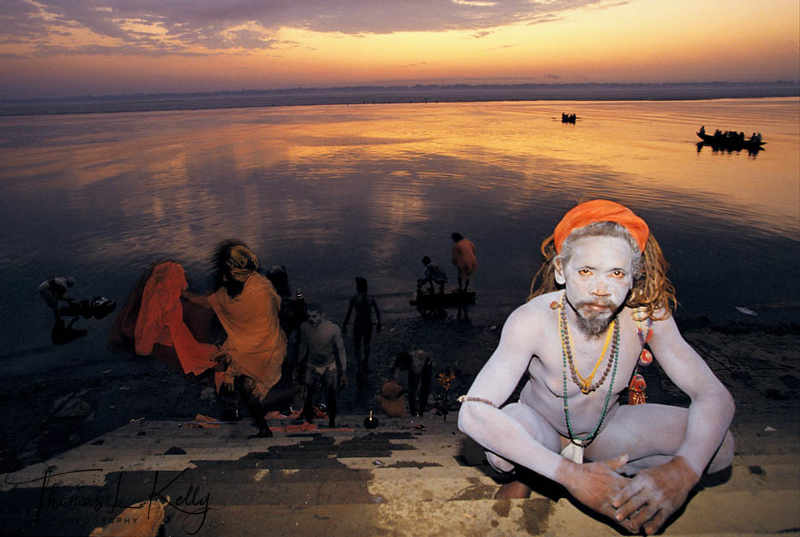 """Bathing is the first ritual a sadhu must perform every day, not only to cleanse the body but to purify the soul in order to prepare for subsequent ritual and ascetic practices. Ideally bathing should be done in a sacred river such as the Ganges, where the sadhu dips three times while uttering mantras and then invokes deities and his guru with water held in his joined hands.<br /> <br /> During the Kumbh Mela festival, millions of people make pilgrimage to different sites along the Ganges where it is said that the nectar of immortality was spilled on these sites during an ancient battle between the gods and the demons. Bathing at these auspicious moments washes away sins and purify the soul, but there is a hierarchy of bathers and auspicious bathing days. The most important are the days for the shahisnan, """"royal bath"""", in which the sadhus, beginning with the Nagas, go in procession to the river, preceding the lay people and intensifying the sanctity of the holy river water."""
