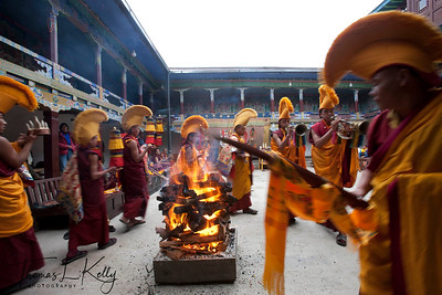 Fire puja during Mani Rimdu festival at Chiwong Monastery. Solu, Nepal.