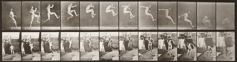 Man in pelvis cloth running and jumping (Animal Locomotion, 1887, plate 159)