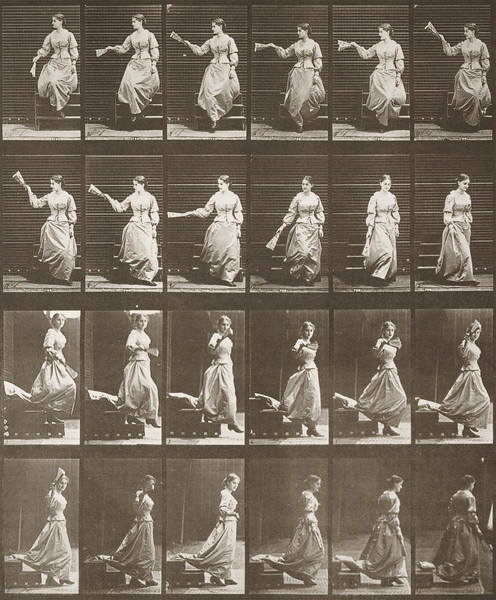 Woman descending stairs, looking around and waving a fan (Animal Locomotion, 1887, plate 140)