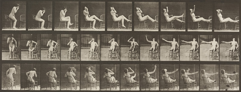 Nude woman sitting down and placing feet on chair (Animal Locomotion, 1887, plate 247)