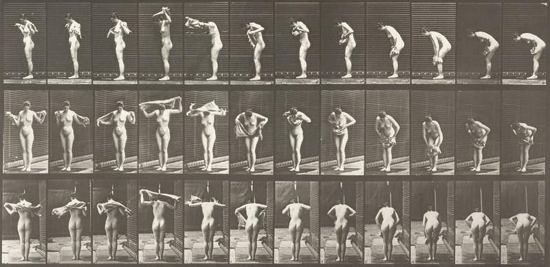 Nude woman drying body (Animal Locomotion, 1887, plate 414)