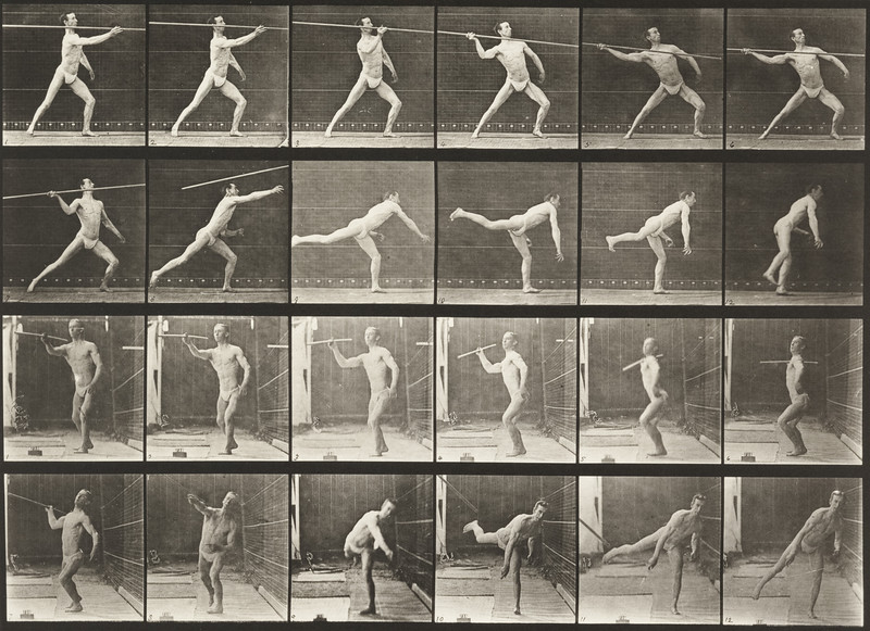 Man in pelvis cloth throwing spear (Animal Locomotion, 1887, plate 361)
