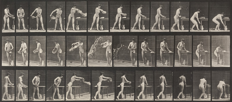 Nude woman emptying a basin of water (Animal Locomotion, 1887, plate 402)