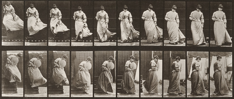 Woman with a fan in right hand descending stairs and turning having her dress caught (Animal Locomotion, 1887, plate 142)