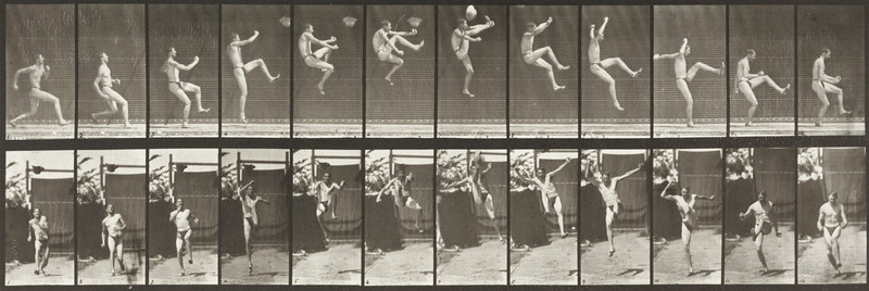 Man in pelvis cloth jumping and kicking (Animal Locomotion, 1887, plate 366)