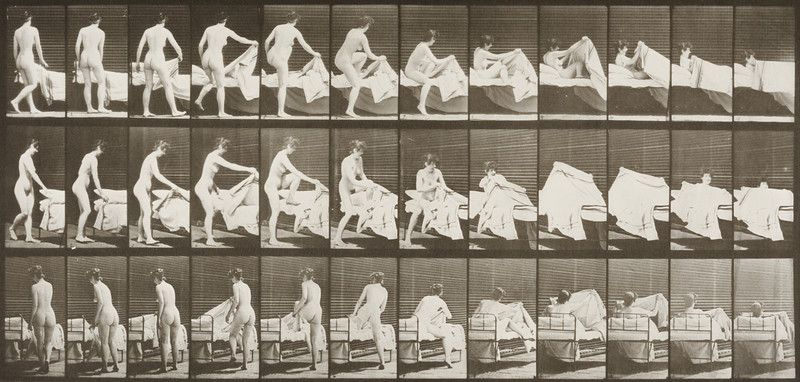 Nude woman getting into bed (Animal Locomotion, 1887, plate 263)
