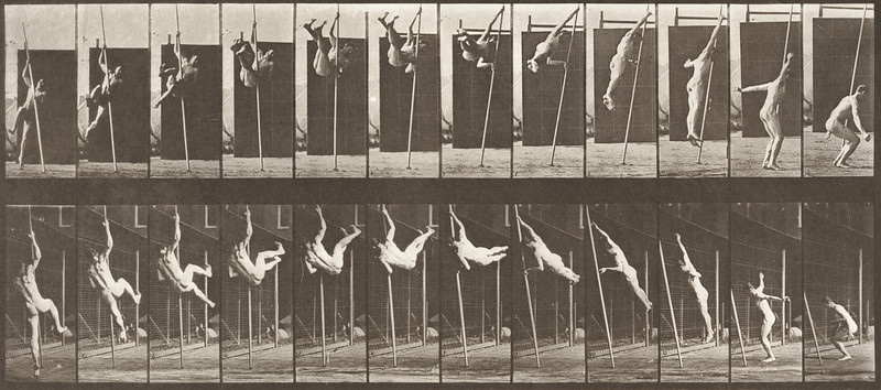 Nude man jumping and pole-vaulting (Animal Locomotion, 1887, plate 165)
