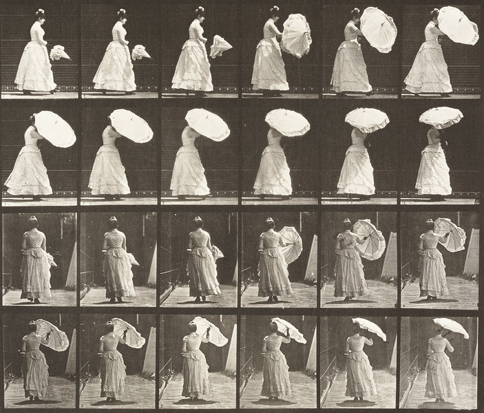 Woman walking and opening a parasol (Animal Locomotion, 1887, plate 38)